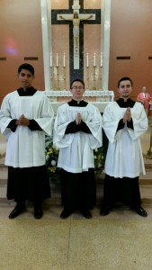 Three Altar Servers Complete 9 Years of Service